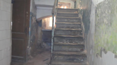 ladder in the old half-ruined house Footage