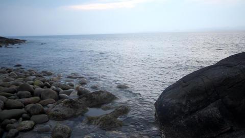 coast of the Barents Sea big round stones Footage