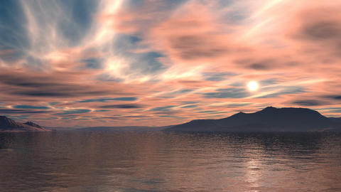 Colorful sunset over the lake Animation