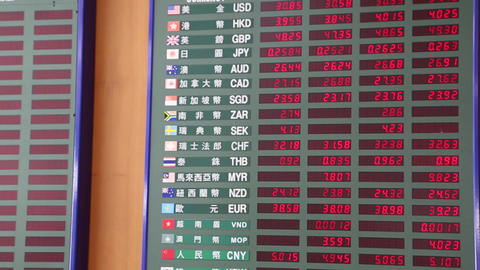 Live currency exchange board at bank Footage