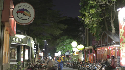 upscale lane with restaurants in Da-an - Dolly sho Footage