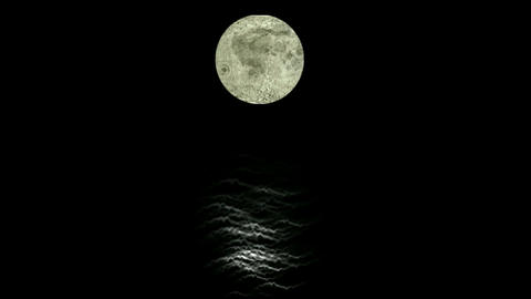 Moon And Sea At Night stock footage