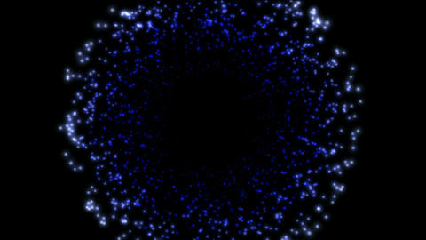 Blue particles and stars shaped tunnel hole in universe,rays laser light magnetic field in out space Animation