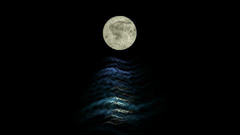 moon and sea at night Stock Video Footage