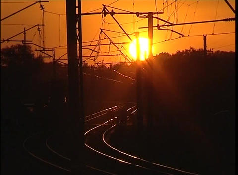 Sunset railway Stock Video Footage