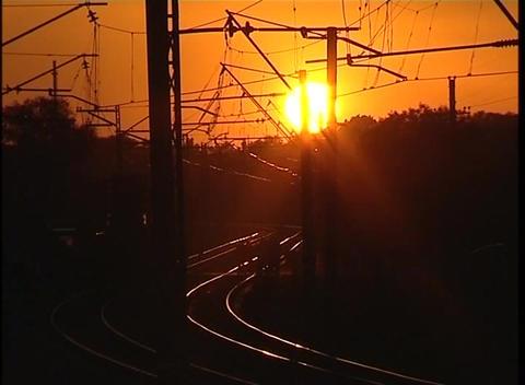 Sunset railway Stock Video Footage