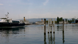 Boat in Evian France 02 Stock Video Footage