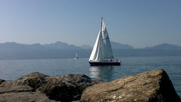 Lake Geneva Lac Leman Cutter Stock Video Footage