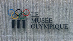 Lausanne Olympic Museum Switzerland 06 pans Stock Video Footage