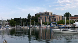 Lausanne Switzerland Port Ouchy 03 Stock Video Footage