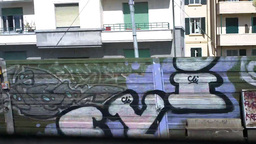 Through Train Window Graffiti Stock Video Footage