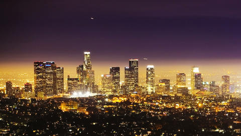 Los Angeles at Night, time lapse Stock Video Footage