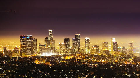 Los Angeles at Night, time lapse Footage