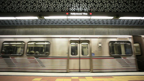 Subway train stops Stock Video Footage
