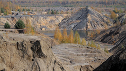 autumn in a sand quarry Footage