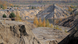 autumn in a sand quarry Stock Video Footage