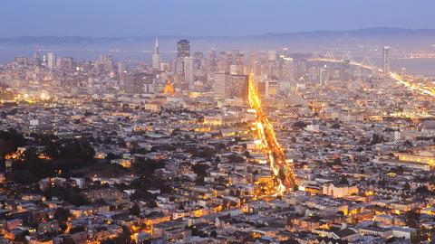 San Francisco, night, time lapse Stock Video Footage