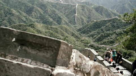 Great Wall in China 77 stylized filmlook Stock Video Footage