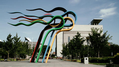 Olympic Games Location in Beijing China 04 stylized filmlook Stock Video Footage