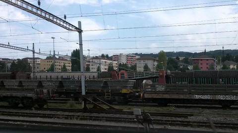 Through Train Window Switzerland 04 Stock Video Footage