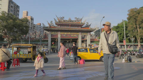 Dolly shot - clear sky front of Longshan Temple Footage