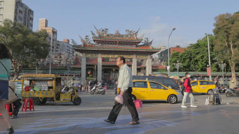 Forward Dolly shot - In front of Longshan Temple Footage