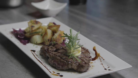 dolly shot - gourmet steak and potatoes Footage