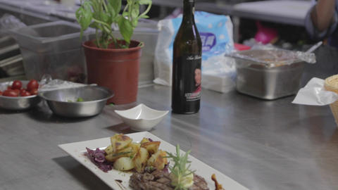 forward dolly shot - gourmet steak and potatoes Footage