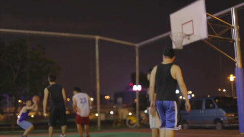 Taiwanese men play night basketball - slow motion  Live影片
