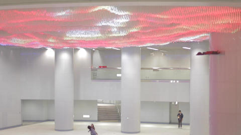 Colorful lights at Songshan MRT in Taipei Live Action