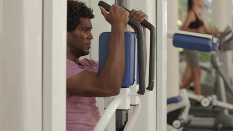Young African American Man Working Out In Fitness Footage