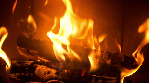 Slow Burning Beech Wood In A Cozy Fireplace stock footage