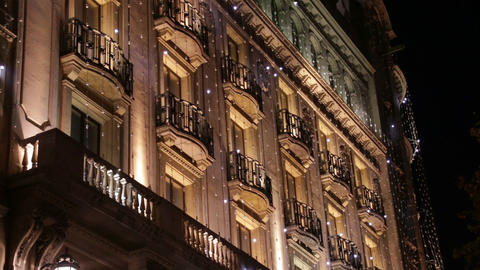 Barcelona Christmas Decorative Led Lights on Facad Footage