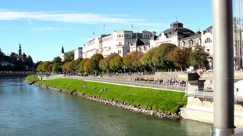 River Salzach flowing through Salzburg Footage