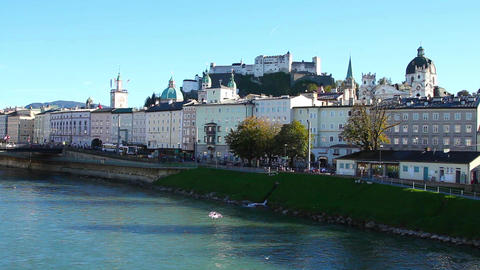 The riverside of River Salzach in Salzburg Footage
