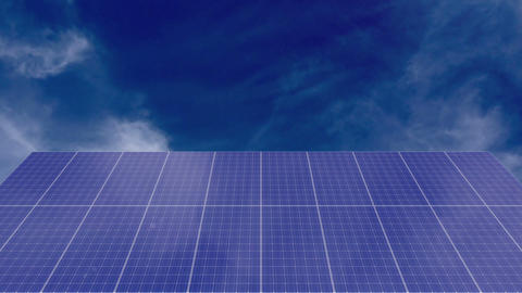Solar Panel with cloudscape Time-lapse Animation