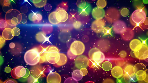 colorful circle bokeh and stars festive loopable b Animation