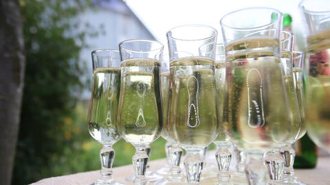 glasses with champagne Footage