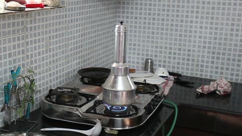 Indian woman kitchen preparing national dish Footage