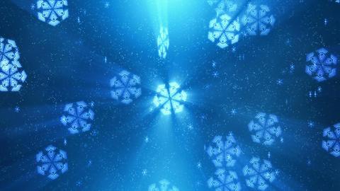 Techno Blue Snowflakes Loop Animation