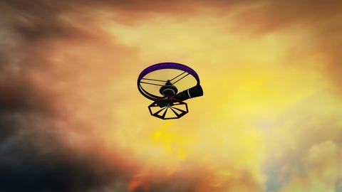 High Tech Telezoom Film Camera Drone In Action 3D  stock footage