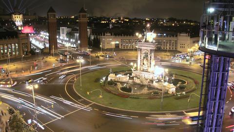Fira de Barcelona Square Crowd at Night 4k Footage