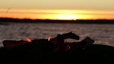 Fading campfire at a windy sunset lake Live Action