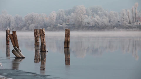 Winter River Landscape stock footage
