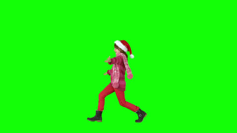 Festive girl skipping in slow motion Footage