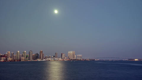 San Diego City Skyline Twilight Moonrise Time Laps Footage