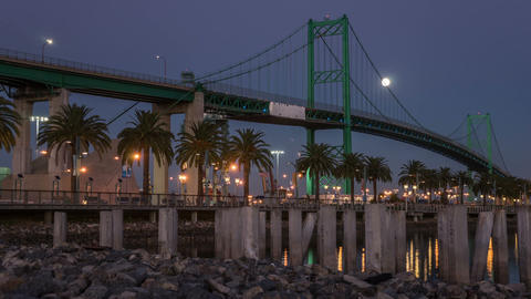 Vincent Thomas Bridge, Port Of Los Angeles Time La stock footage