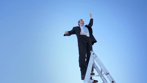 Businessman on Ladder Proud Winner Fist Footage