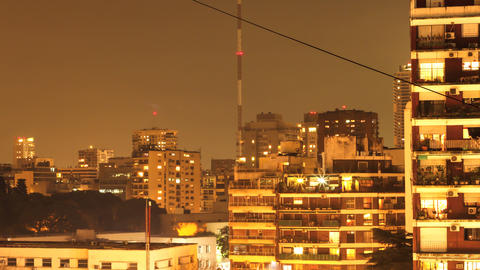 Timelapse of the nightly skyline of Buenos Aires Footage
