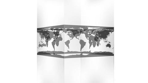 Transparent block showing world map on white background Animation